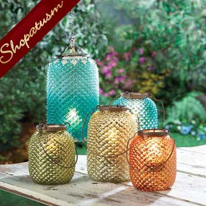 Image 1 of Amber Centerpiece Diamond Pattern Glass Candle Lantern