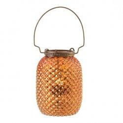 Amber Centerpiece Diamond Pattern Glass Candle Lantern