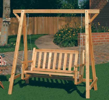 Rustic Russian Pine Wood Chair Swing Garden Bench