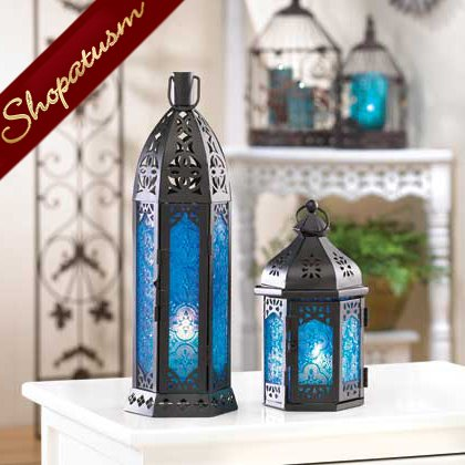 Floret Blue Wedding Centerpiece Tall Candle Lantern