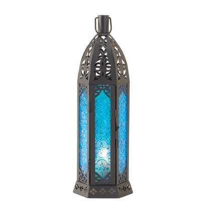 Image 1 of Floret Blue Wedding Centerpiece Tall Candle Lantern