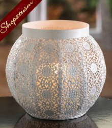 30 White Lace Design Rounded Candle Holders Wedding Centerpieces