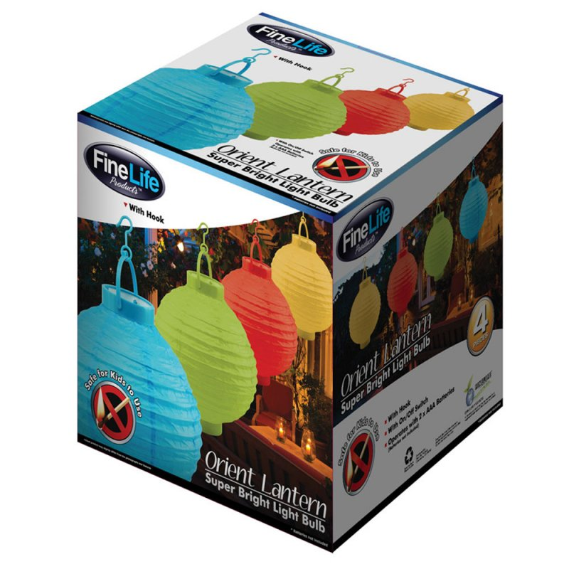 Image 1 of 10 4 Piece Light Up Battery Operated Orient Paper Lantern Party Set