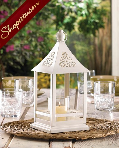24 Elegant White Candle Lanterns Wedding Centerpieces Belfort