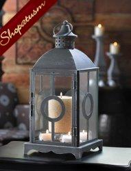 Antiqued Pewter Wedding Centerpiece Circle Design Candle Lantern