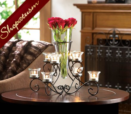 60 Candelabras Scrollwork Wedding Centerpieces with Glass Vase