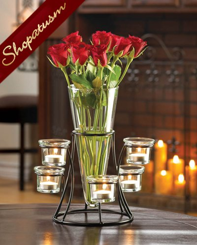 Dramatic Centerpiece Circular Candelabra Candle Stand with Vase