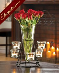 12 Circular Dramatic Centerpiece Candelabra Candle Stand with Vase