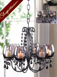 Black Midnight Elegance Candle Holder Crystal Bead Hanging Chandelier