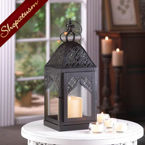 Wholesale lanterns medium centerpiece black filigree