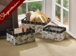 Floral Woven Sea Grass Straw and Fabric Storage Basket Set