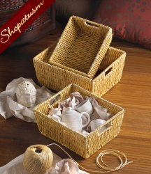 Arcadian Corn Husk Thick Weave Storage Nesting Basket Set