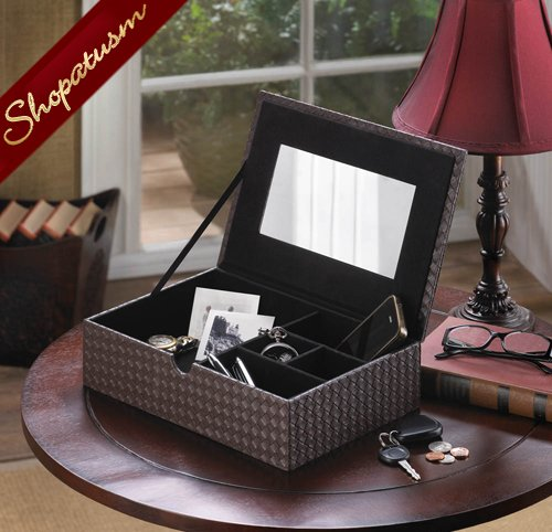 Image 1 of Faux Leather Rich Chestnut Brown Keepsake Jewelry Box