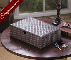 Faux Leather Rich Chestnut Brown Keepsake Jewelry Box