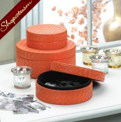 Faux Leather Woven Orange Trio Round Keepsake Jewelry Boxes
