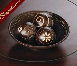 Brown Umber Decorative Carved Bowl with Matching Balls