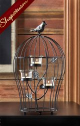 Birdcage Centerpiece Black Metal Triple Candle Holder Candelabra