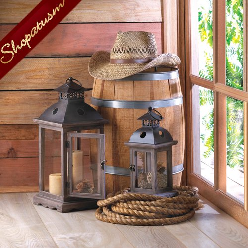 24 Stately Monticello Candle Lanterns Large Rustic Wood Centerpieces