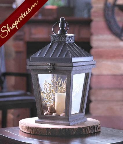 Wood and Metal Centerpiece Bungalow Candle Lantern
