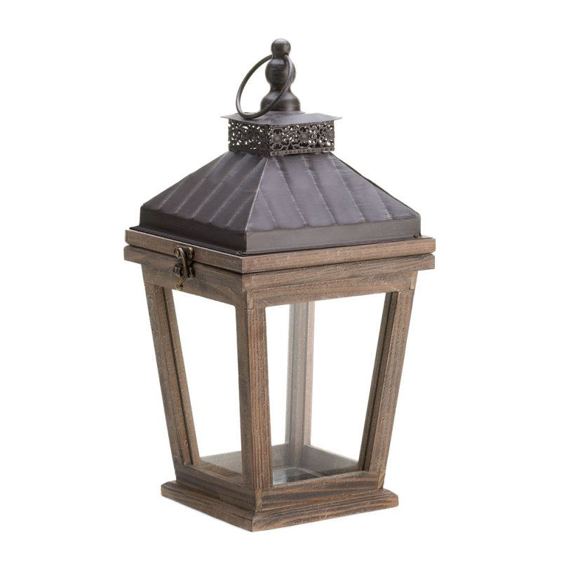 Image 1 of Wood and Metal Centerpiece Bungalow Candle Lantern