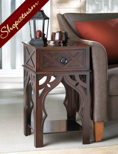 Moroccan Style Carved Wood Side End Table Drawer and Shelf