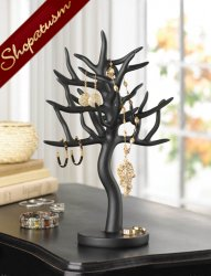 Black Sculptural Tree Branch Jewelry Stand Organizer