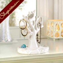Porcelain White Coral Branch Jewelry Holder Organizer