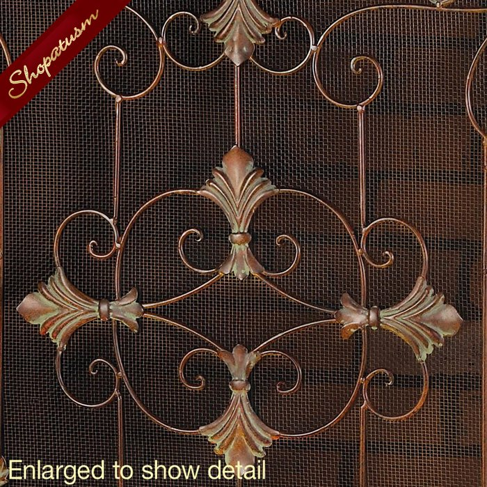 Image 1 of Italian Style Rustic Florentine Fireplace Screen Wrought Iron