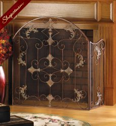 Italian Style Rustic Florentine Fireplace Screen Wrought Iron