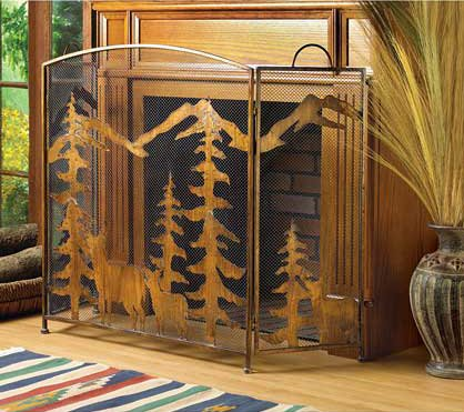 Rustic Bronze Finish Forest Fireplace Screen Wrought Iron