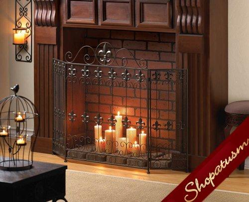 French Revival Black Fleur De Lis Fireplace Screen Wrought Iron