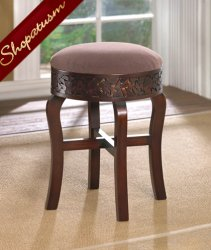 Brown Regent Carved Round Foot Stool Dark Wood
