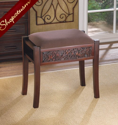 Dark Wood Brown Regent Carved Foot Vanity Stool