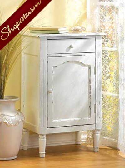 White Shabby Distressed Antiqued Wood Storage Cabinet Nightstand