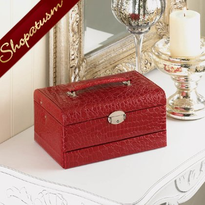 Image 1 of Deluxe Large Faux Snakeskin Red Jewelry Storage Box