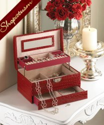 Deluxe Large Faux Snakeskin Red Jewelry Storage Box