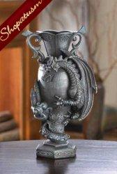 Black Dragon Vase, Dramatic Vase, Black Medieval Dragon Vase, Celtic Symbols