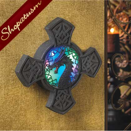Dragoncrest Wall Art, Fierce Dragon Light Plaque, Dramatic Dragon Wall Art