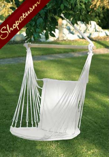 Soft Cotton Padded Indoor Outdoor White Swing Chair