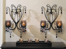 Midnight Elegance Black Smoked Glass Wall Sconce Pair