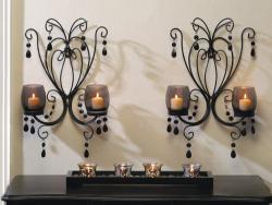 Midnight Elegance Black Smoked Glass Wall Sconce Pair