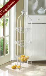 White Metal Storage Corner Basket Stand for Kitchen or Plants