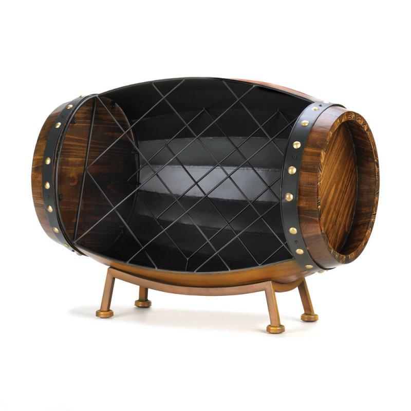 Image 1 of Cask Wood and Metal Barrel Decorative Wine Rack