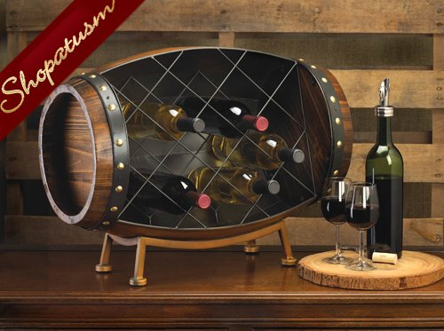 Cask Wood And Metal Barrel Decorative Wine Rack