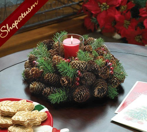 Pine cone red berries centerpiece wreath holiday candle