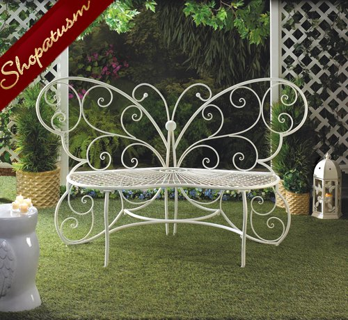 White Metal Butterfly Indoor Outdoor Garden Bench Plant Stand