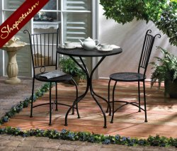 Soho Black Metal Bistro Set Round Lattice Top Table and Chairs