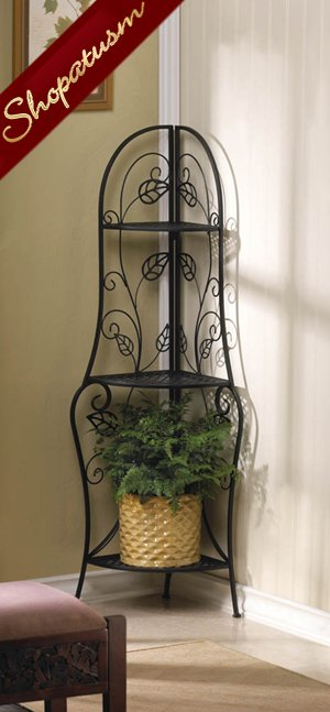 Leaf Design Black Metal Corner Bakers Storage Shelf