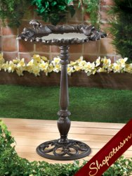 Cast Iron Weathered Finished Leaf Basin Bird Bath