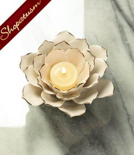 20 Elegant Centerpieces Stoneware White Lotus Candle Holders